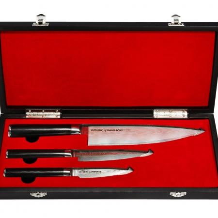 Комплект 3 ножей в подарочной коробке Samura Damascus, 61 HRC