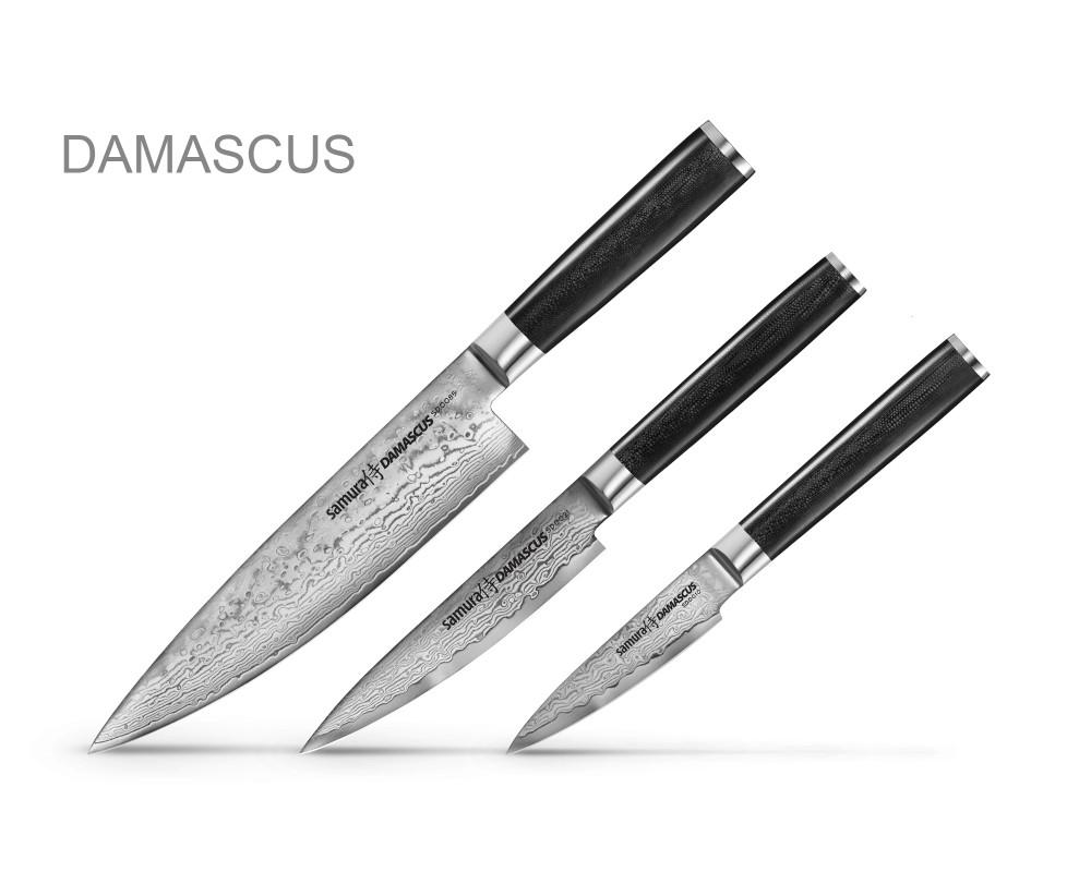Samura Damascus 3 noa komplekt kinkekarbis, 61 HRC